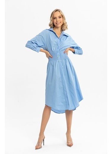 Tiffany&Tomato Beli Gipeli Poplin Uzun Gömlek Elbise-Mavi Mavi